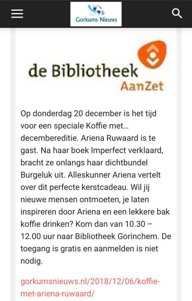 706f54401bca9d Ik heb deze week een Koffie met… in de bibliotheek van Gorinchem. En ik vind  het reuze leuk dat ik ben uitgenodigd om iets over mijn gedichtenbundel ...